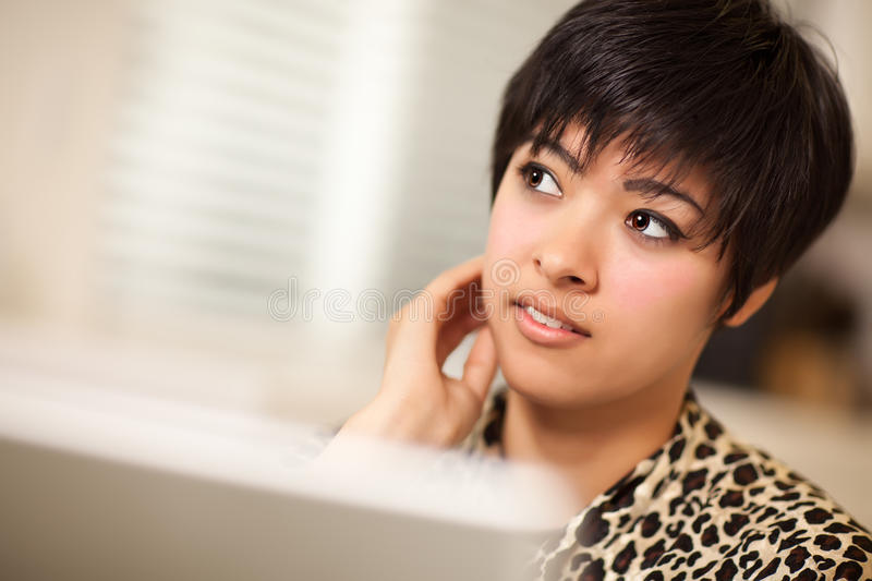 Pretty Smiling Multiethnic Woman Using Laptop Royalty Free Stock Photos