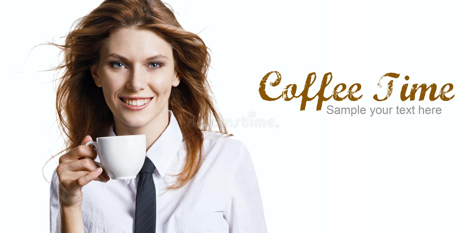 Pretty smiling woman have a coffee break. Photography of pretty businesswoman holding porcelain cup with coffee - isolated over white background with copyspace royalty free stock image