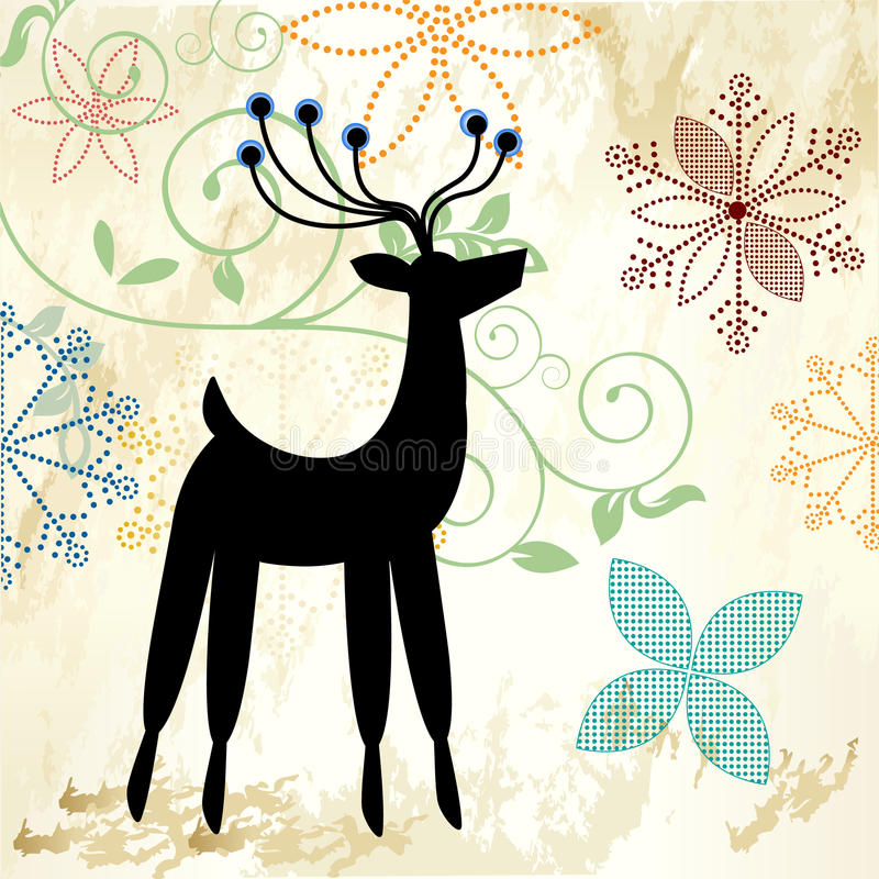 Download Pretty snowflakes and deer stock vector. Image of decoration - 26691959