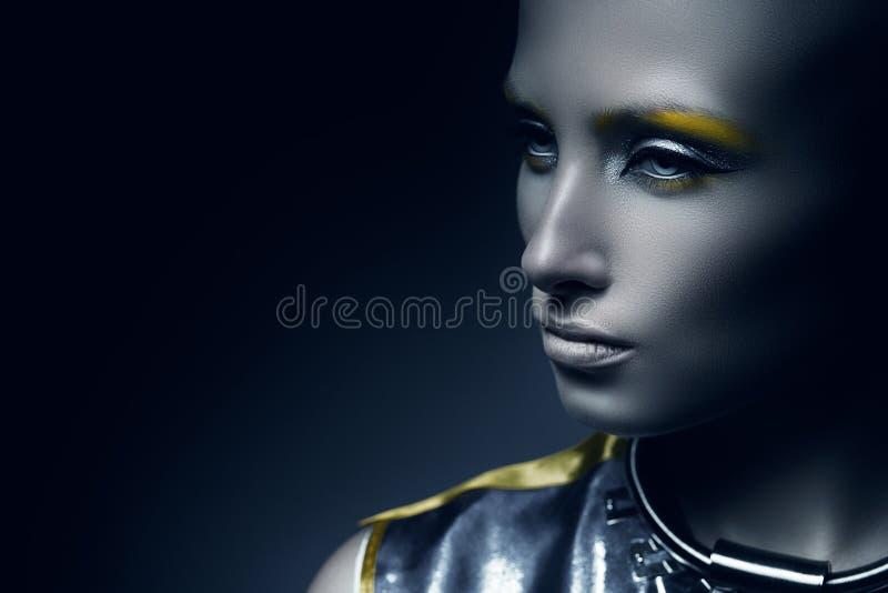 Pretty space woman in dark stock image