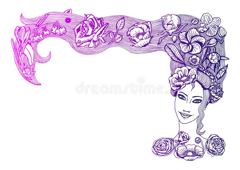 Pretty spring girl face with beautiful flowers in long hair, in pink and purple gradient, on white background royalty free illustration
