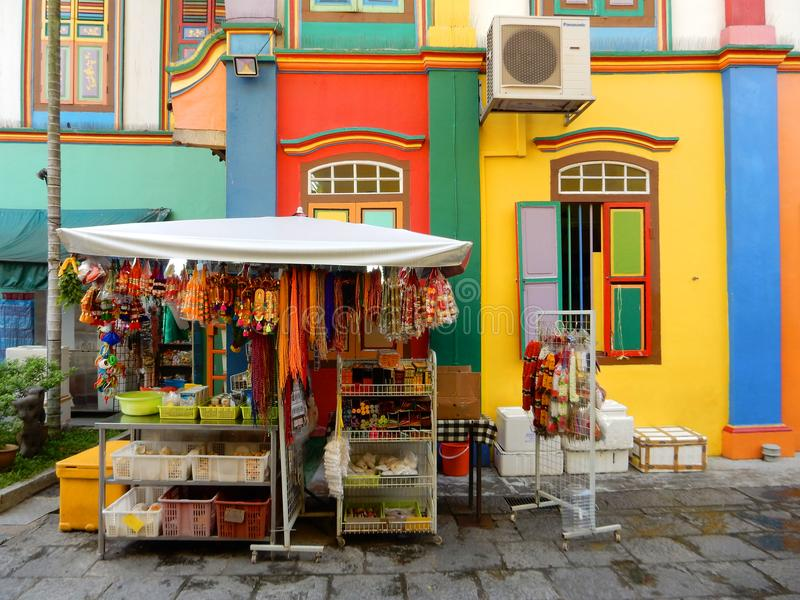 Little India in Singapore. A pretty stand selling religeous goods in Little India in Singapore stock photos