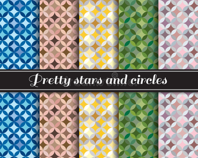 Pretty stars and circles pattern 5 style is blue,brown skin,yellow,Army Green and pink-gray royalty free illustration