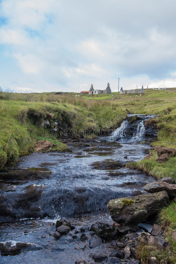 Burn and waterfall on the Isle of Skye. Pretty streams and waterfalls abound on the Isle of Skye in Scotland royalty free stock images