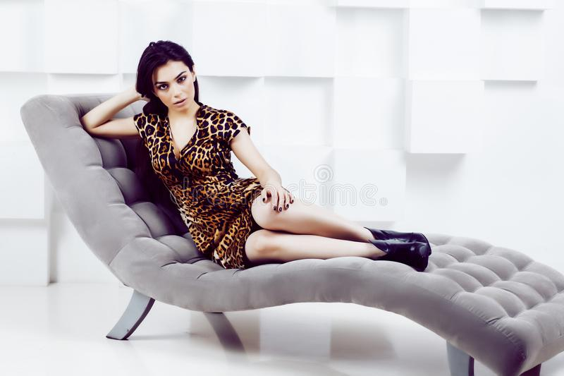 Pretty stylish woman in fashion dress with leopard print in luxu. Ry rich room interior, lifestyle people concept, modern brunette royalty free stock image