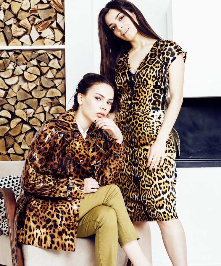 Pretty stylish woman in fashion dress with leopard print togethe. Pretty stylish women in fashion dress with leopard print together in luxury rich room interior stock photo