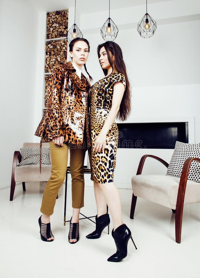 Pretty stylish woman in fashion dress with leopard print togethe. Pretty stylish women in fashion dress with leopard print together in luxury rich room interior royalty free stock image