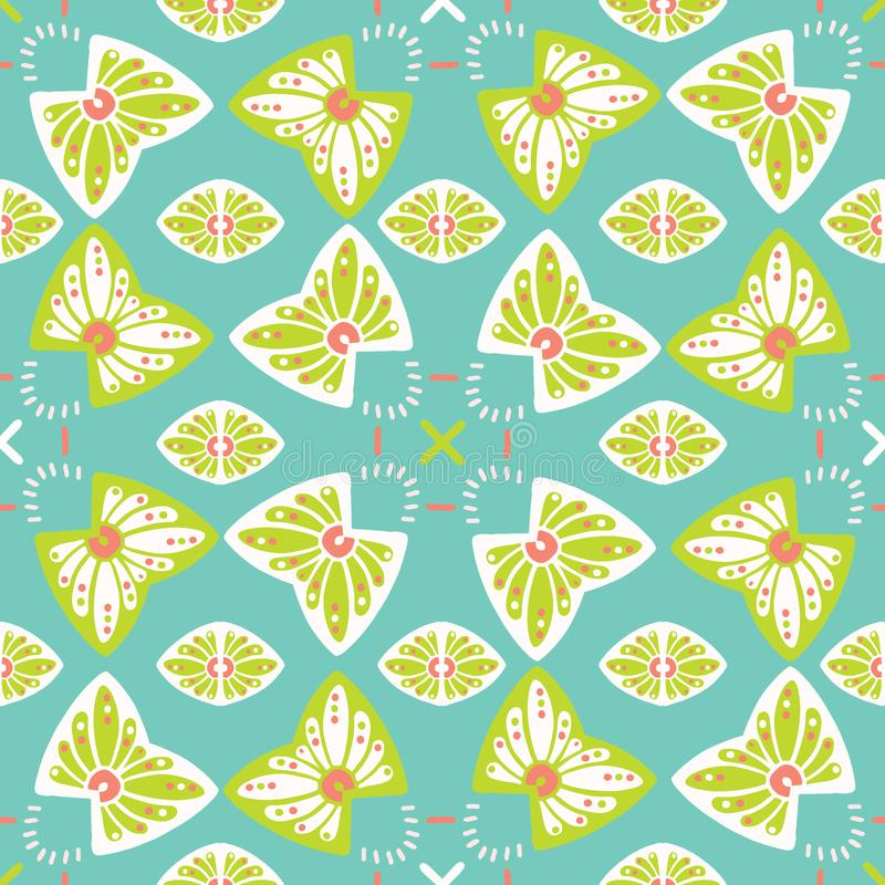 Pretty stylized floral pattern. Seamless repeating. Hand drawn butterfly vector illustration. stock illustration