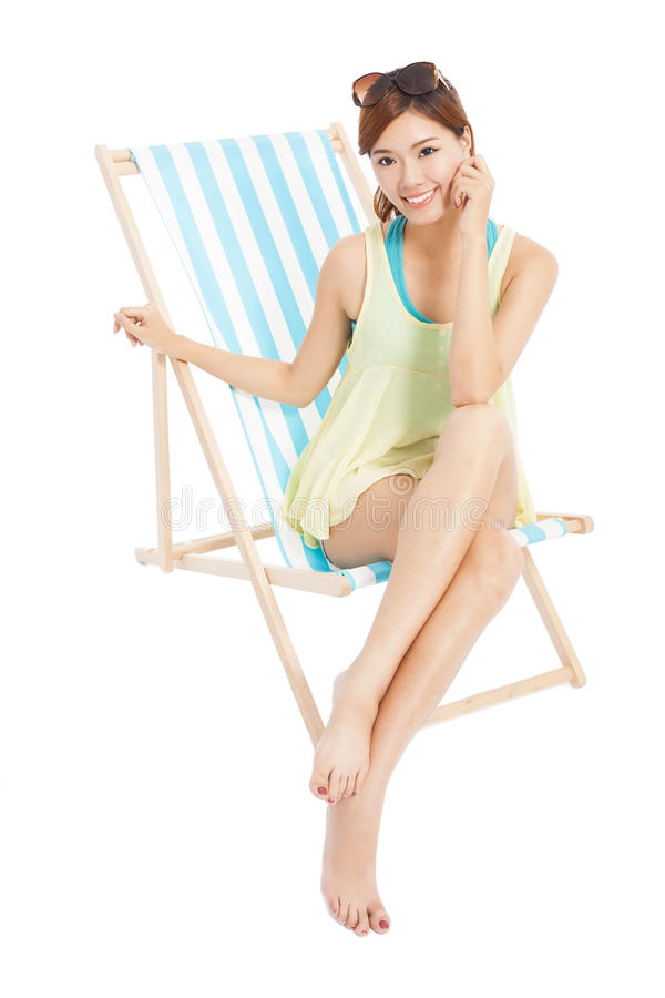 Pretty Sunshine Girl Smiling And Sitting On A Beach Chair ...
