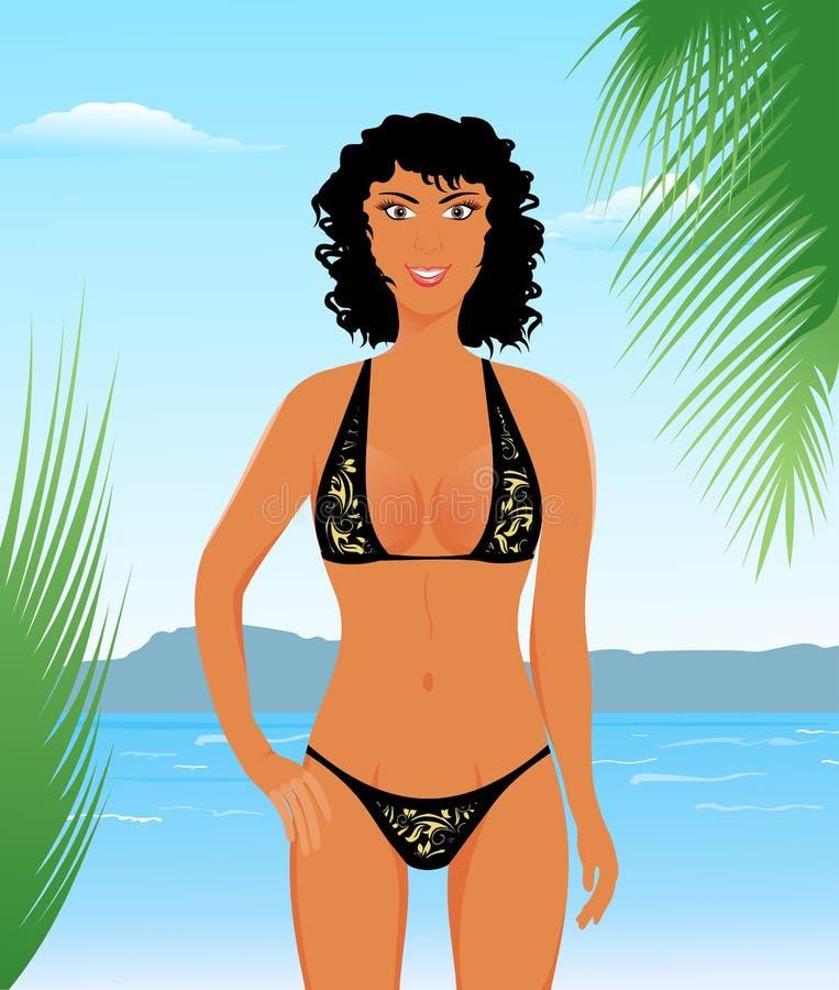 Pretty suntanned girl on beach