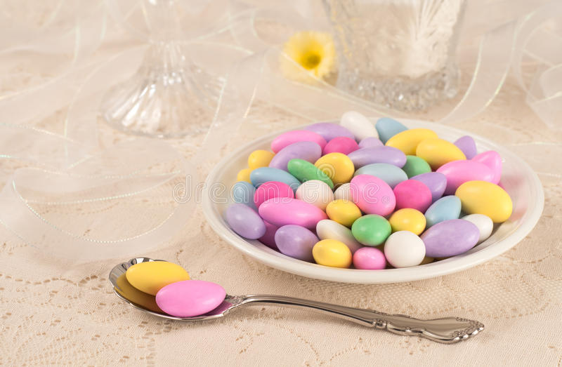 Pretty Table Setting for a Party with Candy stock images
