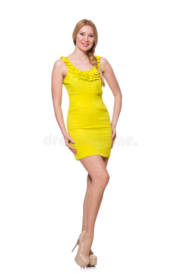 Pretty tall woman in short yellow dress isolated royalty free stock photography