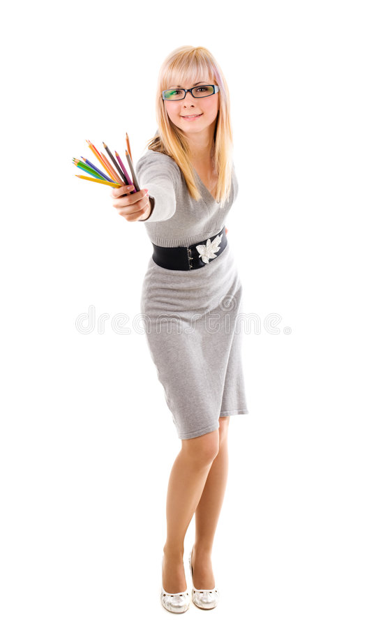 Pretty teacher with pencils stock images