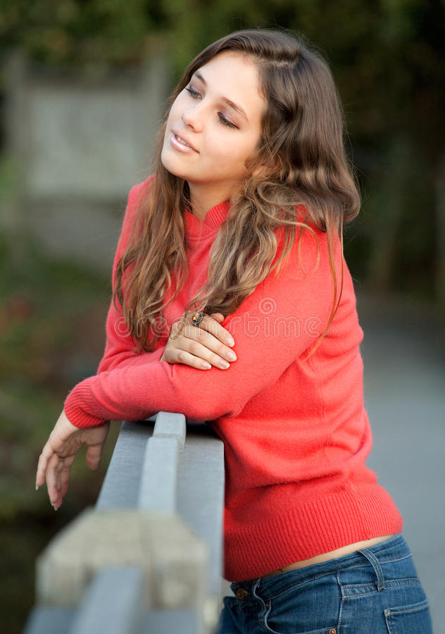 Pretty Teen on Bridge stock image