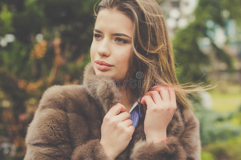 Pretty teen girl is wearing fur coat stock image image - Traumzimmer fur teenager ...