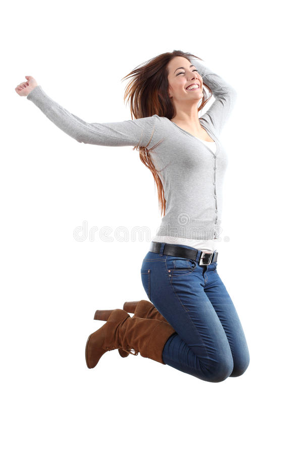 Pretty teen jumping happy royalty free stock image