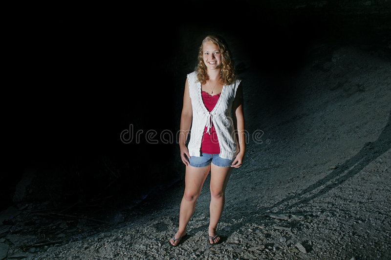 Pretty Teen Model Outdoors Stock Image