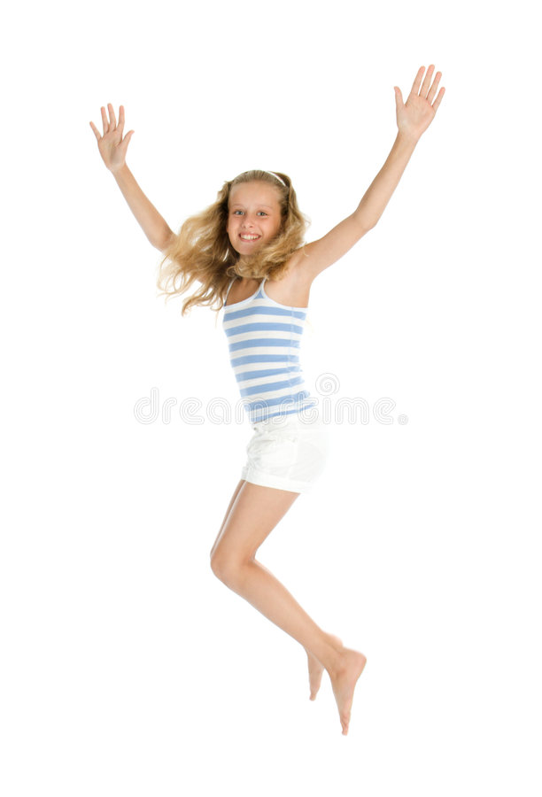 Pretty teenage girl jump and hands up royalty free stock photography