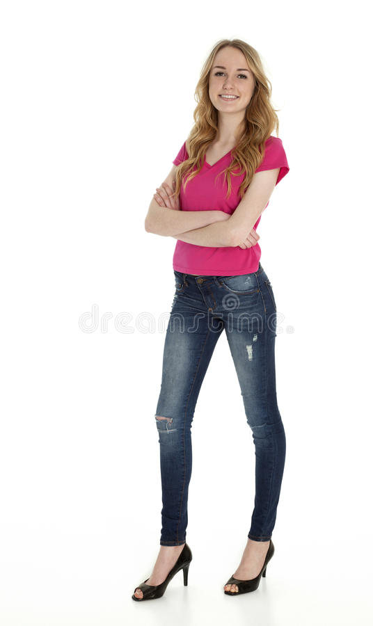Pretty Teenage Girl on White royalty free stock photography