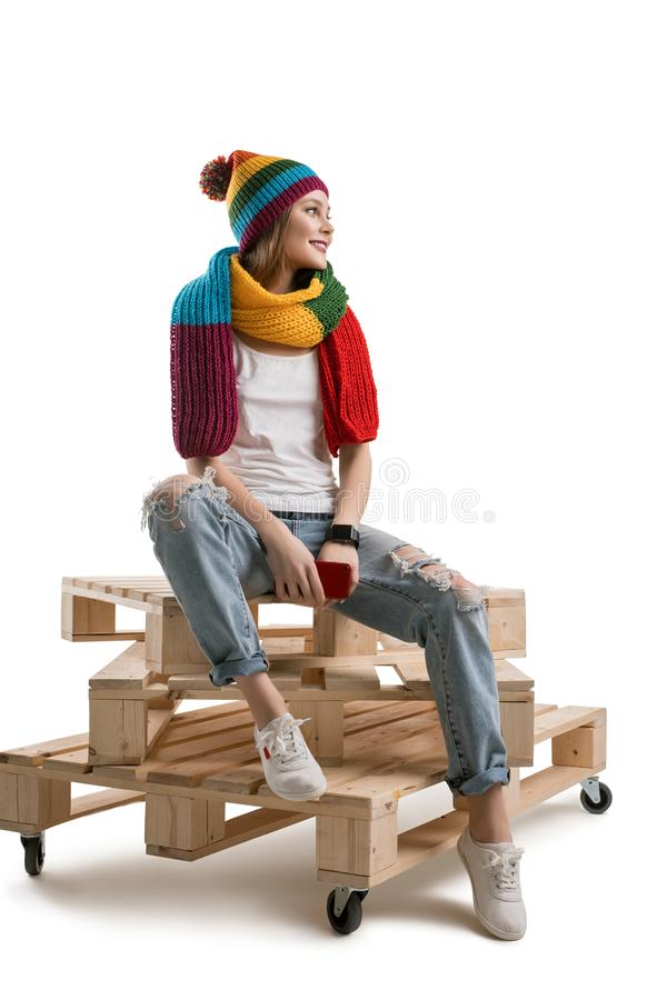Pretty teenager in knitted hat isolated shot royalty free stock images