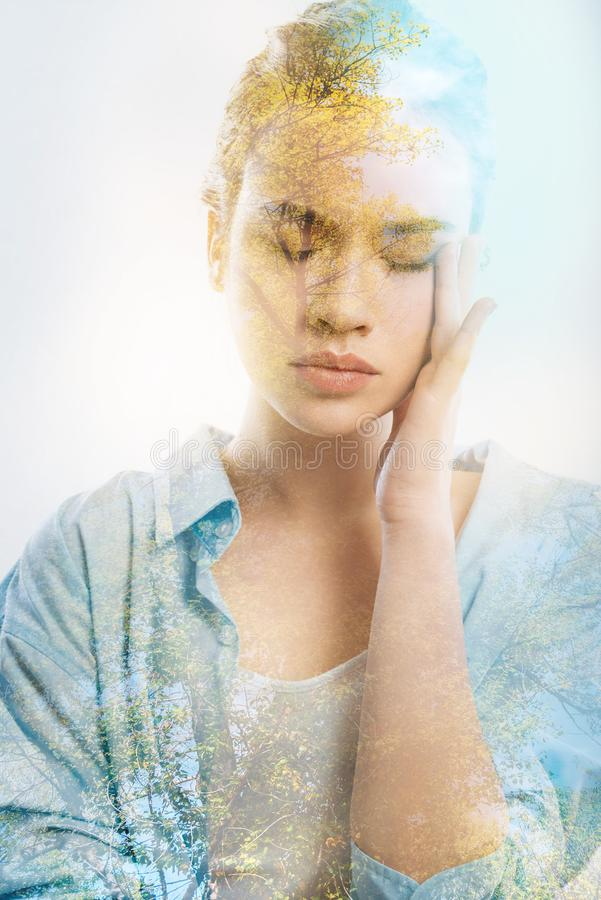 Download Pretty Thoughtful Girl Touching Her Face Closing Eyes. Stock Photo - Image of abandonment, model: 109011070