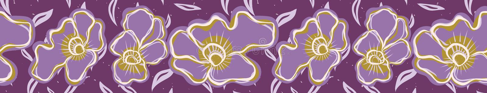 Pretty tiny flower pansy blooms border. Seamless repeating. stock illustration
