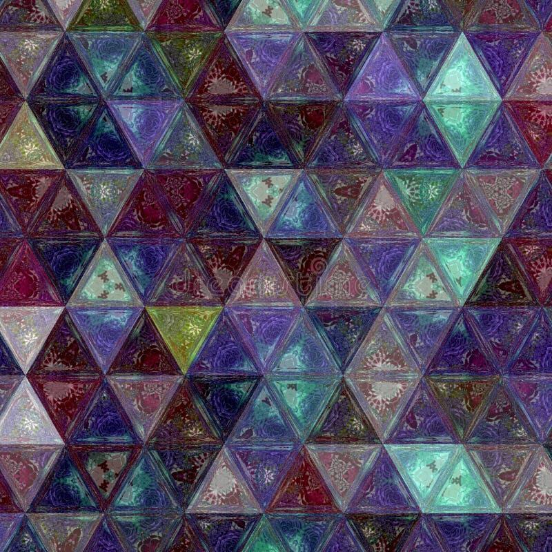 Pretty triangle purple, green and white background effect patchwork. Triangle purple, green and white background effect patchwork royalty free stock photo