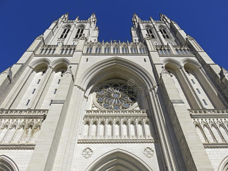 Pretty Twin Towers of the National Cathedral stock photo