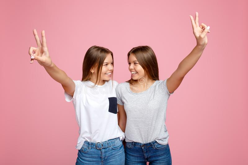 Pretty two young twin sisters with beautiful smile with hands up showing peace gesture over pink background. stock image