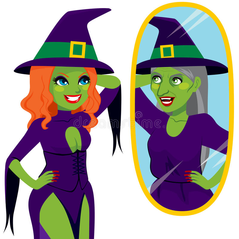 Pretty Ugly Witch Mirror Reflection. Pretty and ugly evil scary green skin witch looking her true self reflection on magical mirror stock illustration