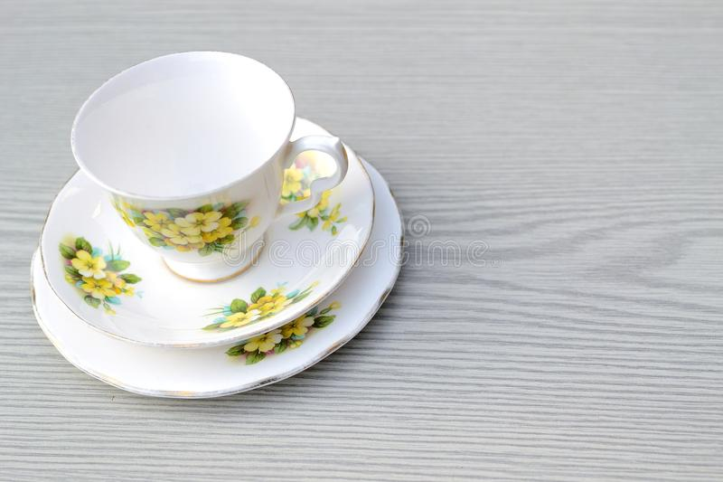 Download Pretty Vintage China Trio Tea Set On A Table Stock Image - Image: 28393831