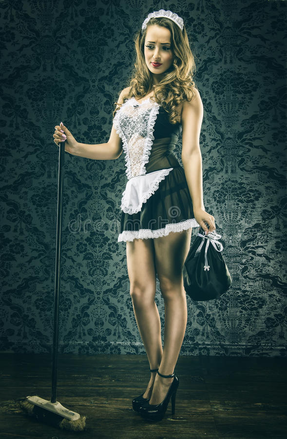 Pretty Vintage maid, housemaid stock photos