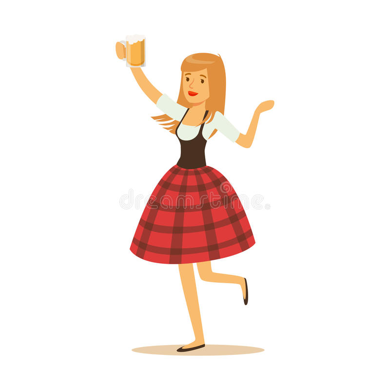 Pretty waitress in a red Bavarian traditional costume holding beer mug, Oktoberfest beer festival vector Illustration. On a white background royalty free illustration