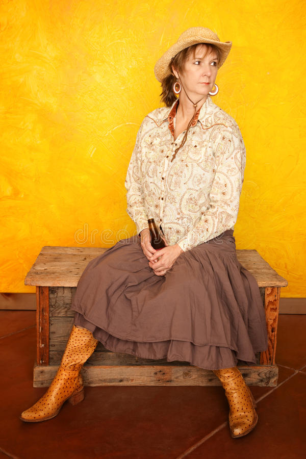 Download Pretty Western Woman With Beer Stock Image - Image: 16098791