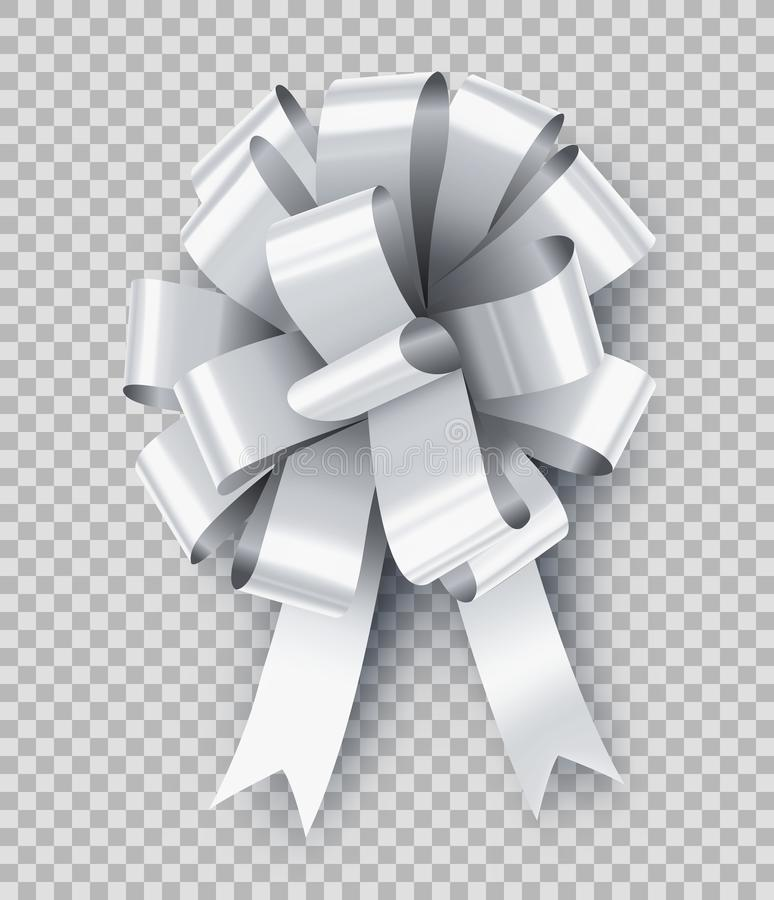 Pretty white gift bow with ribbon. Wedding ceremony decor isolated on transparent background. Realistic decoration for presents wrapping. Different elegant royalty free illustration