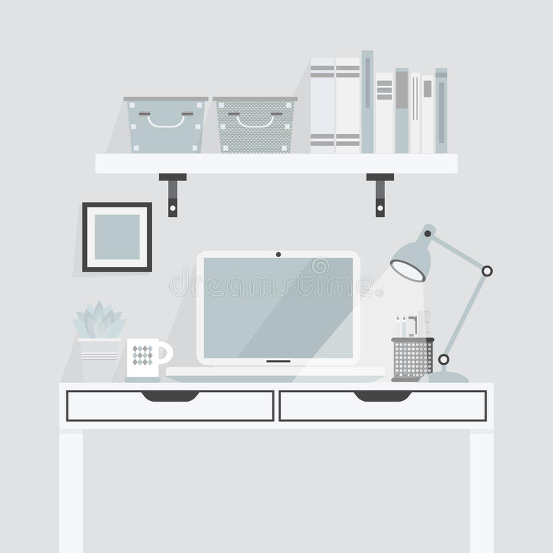 Pretty white and teal working place on gray background. Flat design stock illustration