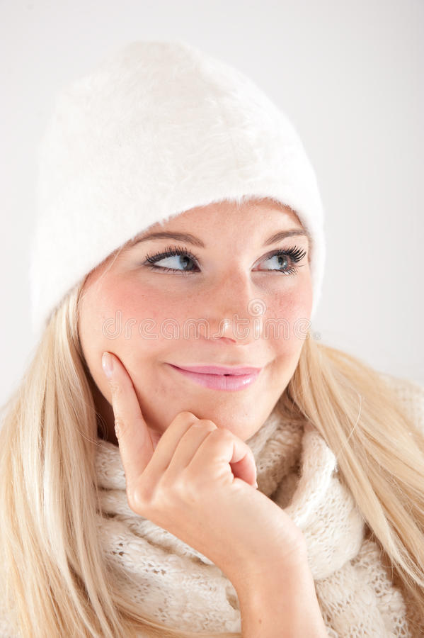 Pretty Winter Girl In White Hat And Scarf Royalty Free Stock Photos