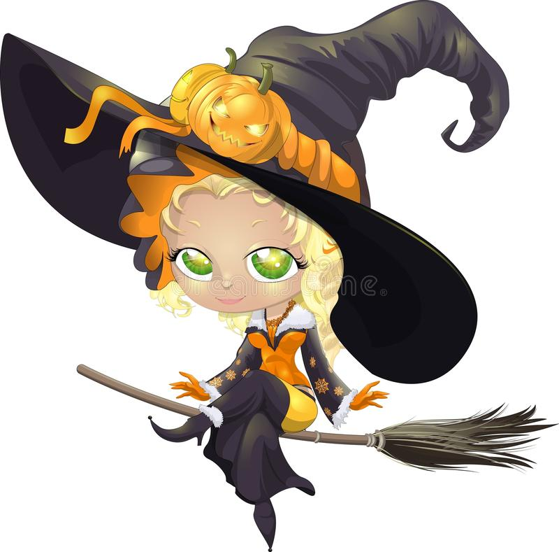 Pretty witch on a broom. Beautiful witch riding a broom on a white background royalty free illustration