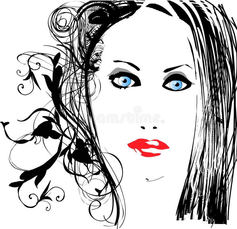 Download Pretty woman stock vector. Illustration of head, stylized - 14307408