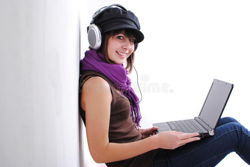 Download Pretty woman stock image. Image of headphones, female - 21611107
