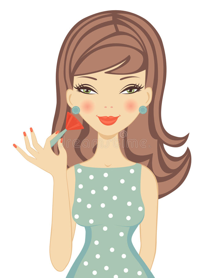 Pretty woman applying blusher royalty free illustration