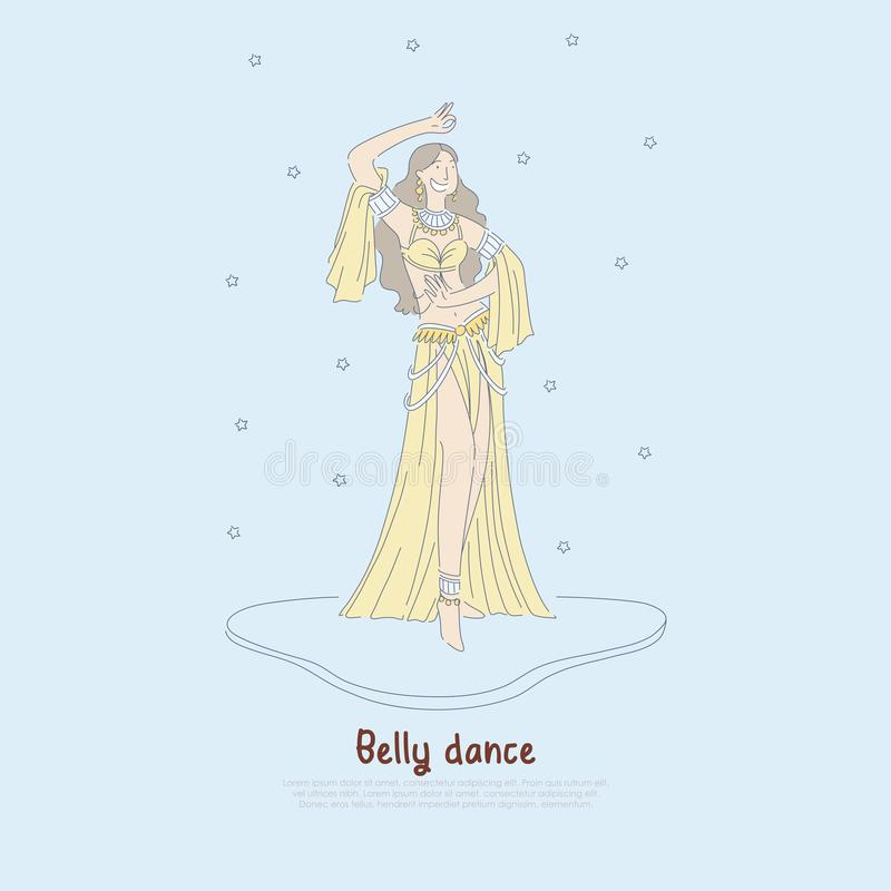 Pretty woman in authentic dress, beautiful dancer performing exotic belly dance, oriental culture banner royalty free illustration