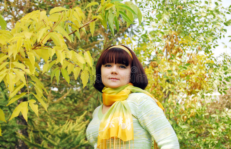 Download Pretty Woman In The Autumn Park. Royalty Free Stock Image - Image: 12442976