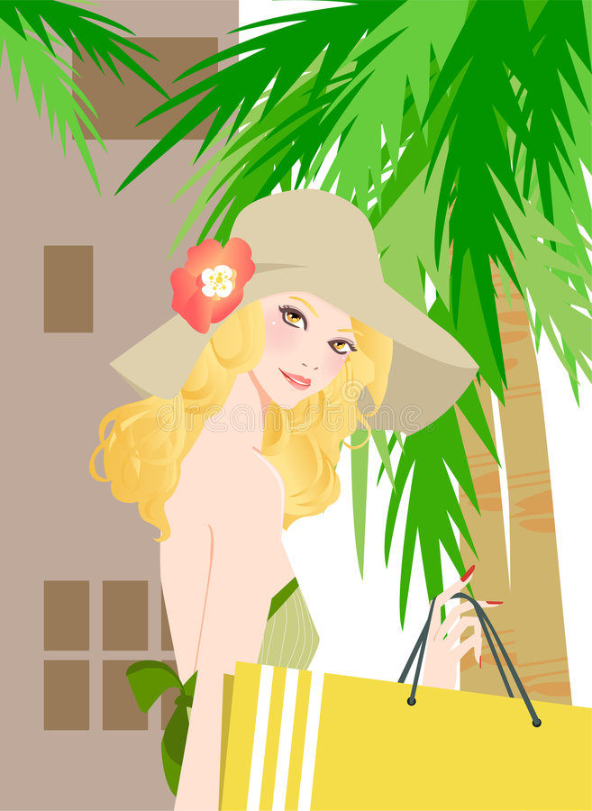 Download Pretty woman with bag stock vector. Illustration of girls - 8393890
