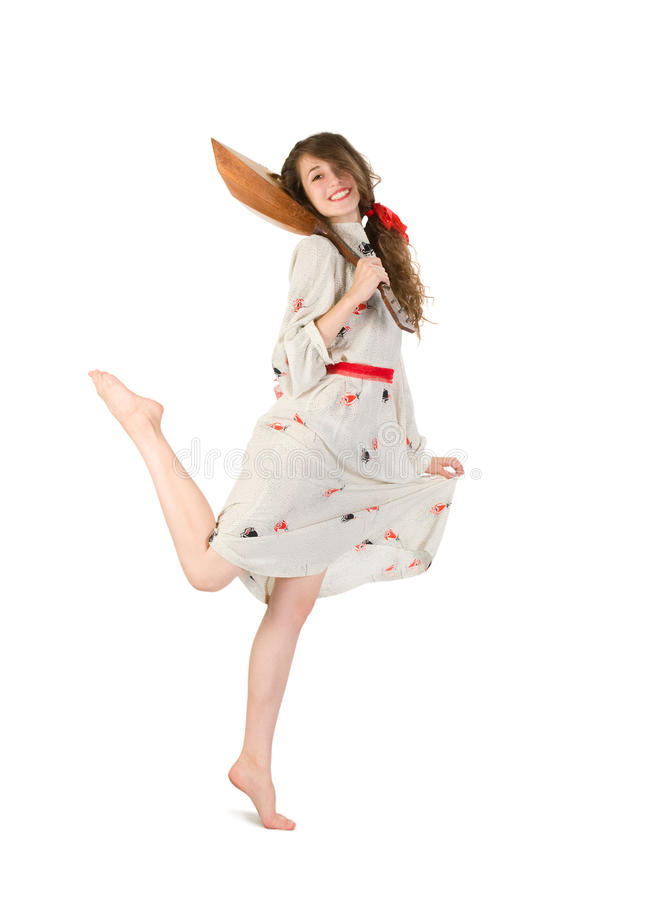 Download Pretty Woman With Balalaika Stock Photo - Image: 16186174