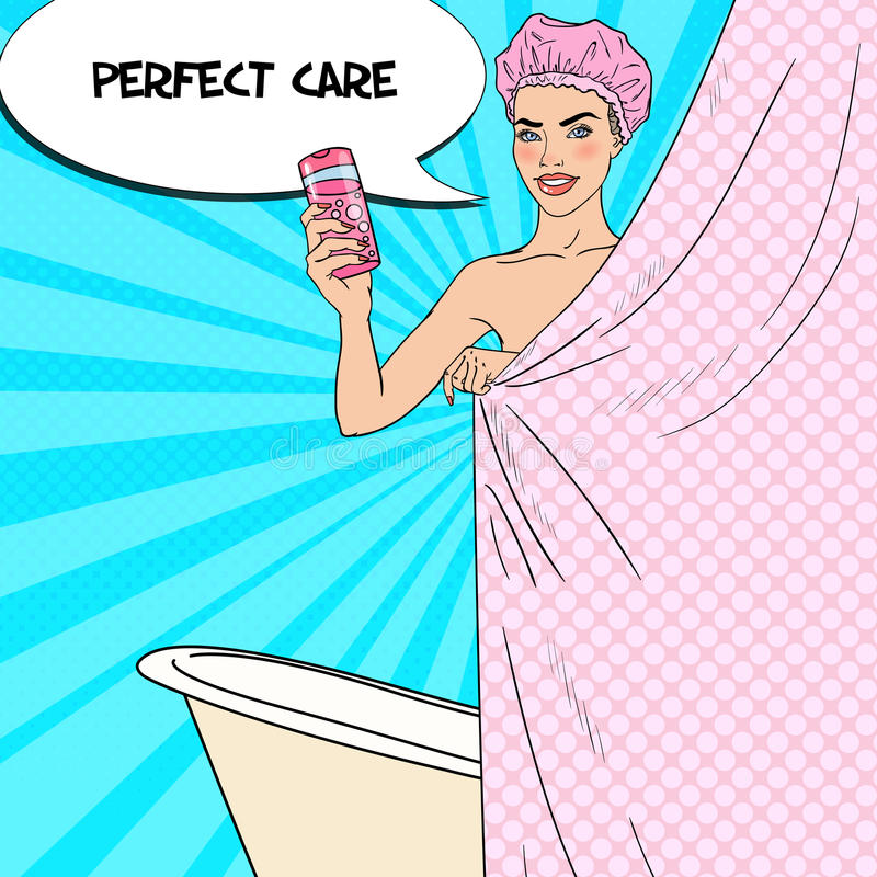 Pretty Woman in Bathroom Holding Shower Gel. Skin Care. Pop Art illustration royalty free illustration
