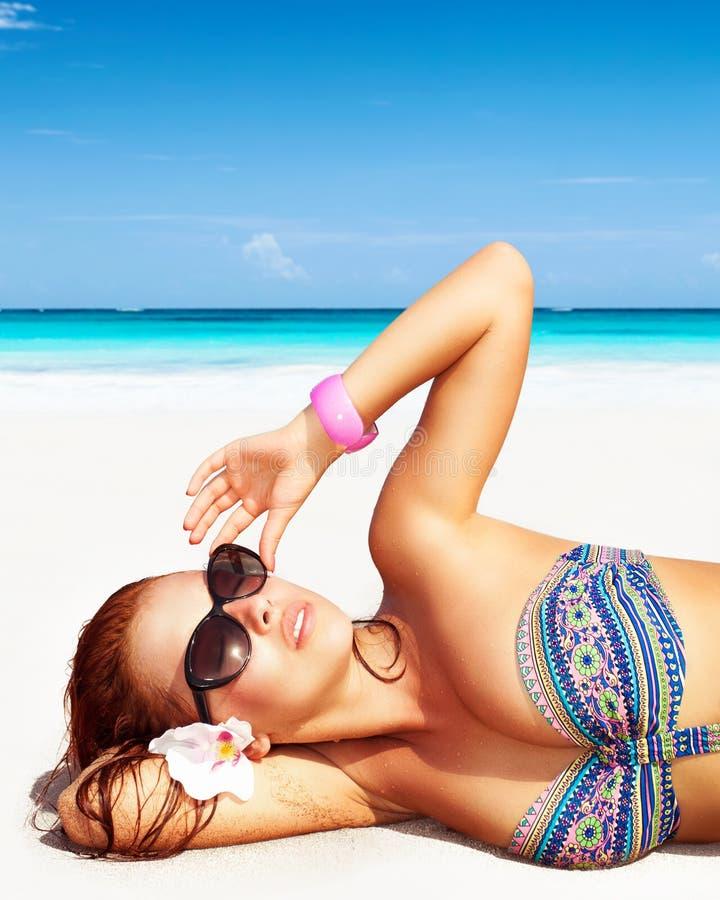 Woman Enjoying At Beach Stock Image Image Of Pleasure: Pretty Woman On The Beach Stock Image. Image Of Lying