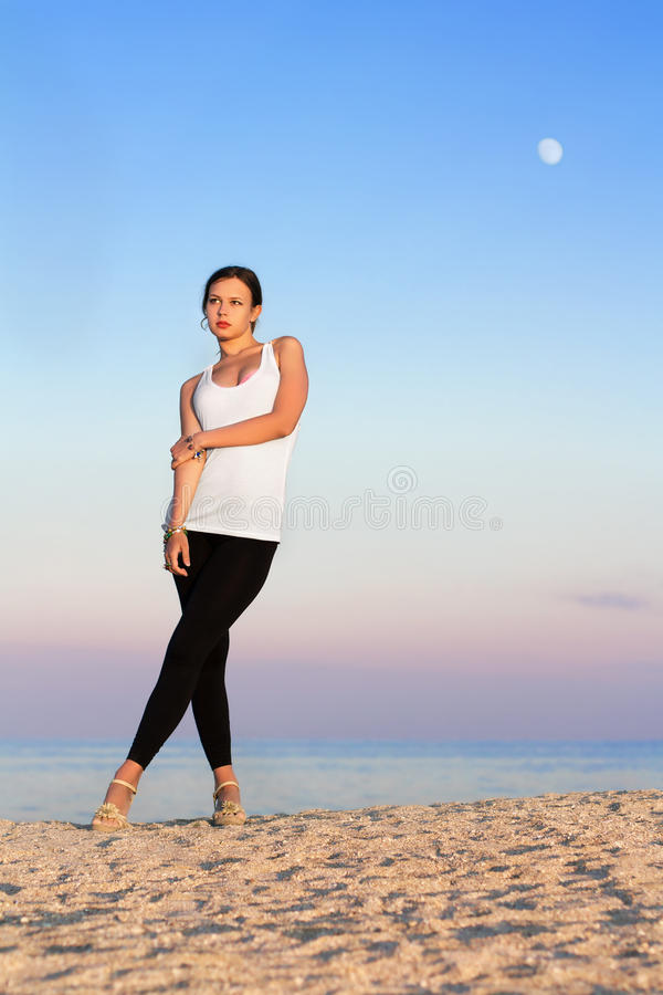 Download Pretty woman on the beach stock image. Image of black - 31350965