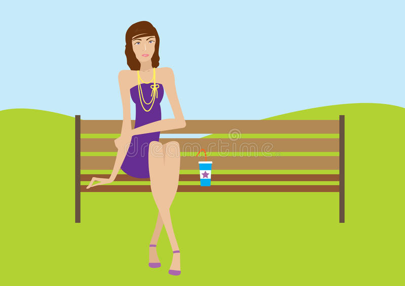Pretty Woman On A Bench With Cold Coffee Drinks