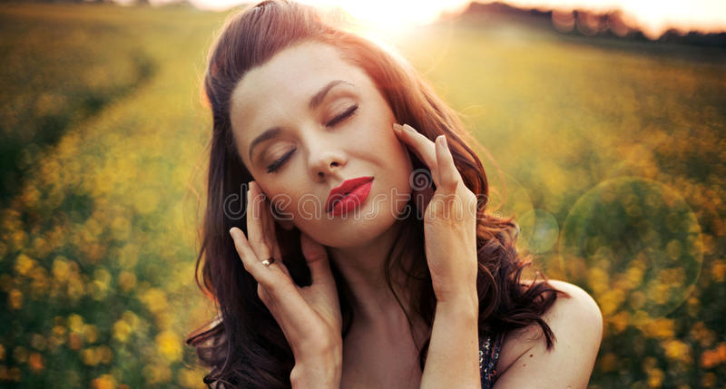 Pretty woman with big sensual lips royalty free stock photo